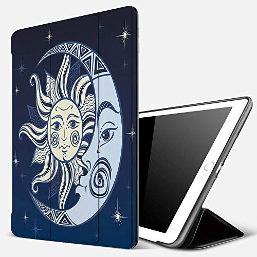 iPad 9.7 inch 2017/2018 Case/iPad Air/Air 2 Cover,The Moon and The Sun,PU Leather Shockproof Shell Stand Smart Cover with Auto Wake