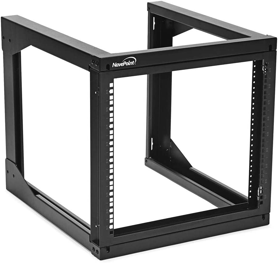 NavePoint 9U Wall Mount Open Frame Network Rack, Swing Out Hinged Gate,24 Inch Depth, Holds Network Servers and AV Equipment, Easy Rear Access to Equipment, Gate Opens 180 Degrees from Either Side