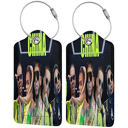 Anuel Aa cuero equipaje etiqueta banda viaje accesorios maleta etiquetas identificadores tarjeta de identificación de negocios, Black, 2 PC,