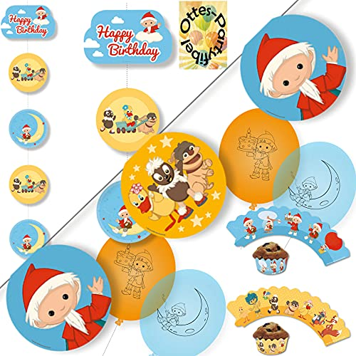 HHO Unser Sandmännchen-Party-Set Sandmann-Party-Set Dekoration2 : Wimpelkette Deckenhänger Luftballons Muffin-Deko-Banderolen