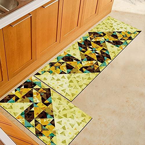OPLJ Alfombra de Cocina geométrica Antideslizante Alfombra de baño Impermeable Alfombra de Puerta de Entrada Alfombra de Piso Pasillo Área de decoración del hogar Alfombra A4 40x60cm + 40x120cm