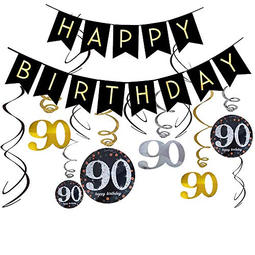 90th Birthday Party Decorations Women/Men Cheers to Happy 90th Birthday Banner Sparkling Swallowtail Bunting Garland Hanging Swirls Great for 90th Birthday Decorations