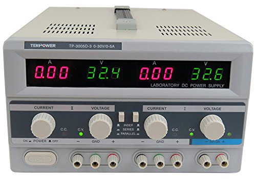 Tekpower TP3005D-3 Digital Variable Triple Outputs Linear-type DC Power Supply, 0-30V 0-5A