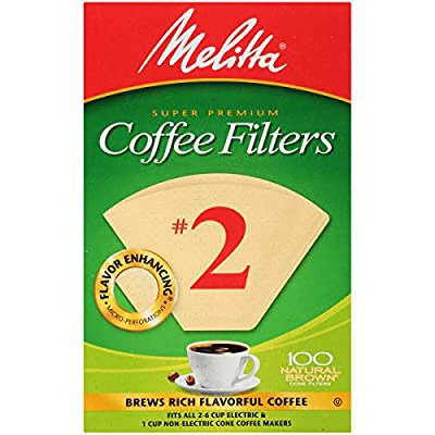 Melitta #2 Cone Coffee Filters, Natural Brown, 100 Count (Pack of 6)