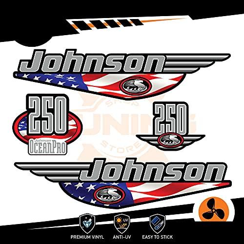 Generico Johnson - Kit de adhesivos para motor marino fuera del borde, 250 CV Ocenapro, versión de EE. UU.