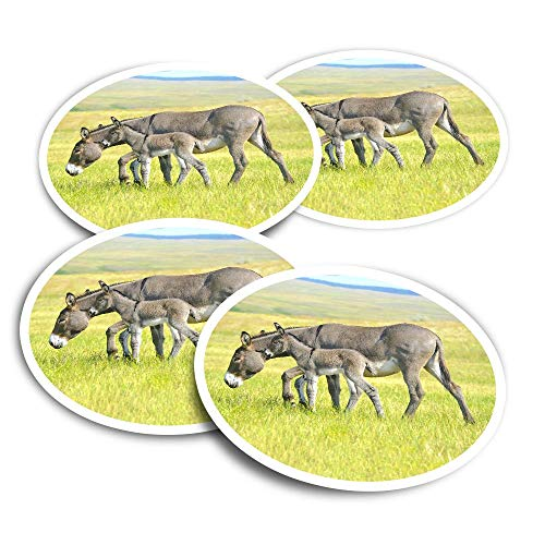 Pegatinas de vinilo (juego de 2) 10 cm – Madre bebé burro potro calcomanías divertidas para ordenadores portátiles, tabletas, equipaje, reserva de chatarra, neveras #15596