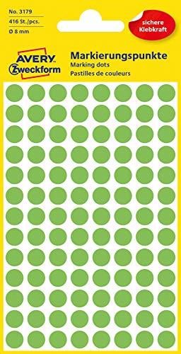 AVERY Zweckform 3179 selbstklebende Markierungspunkte (Ø 8 mm, 416 Klebepunkte auf 4 Bogen, runde Aufkleber für Kalender, Planer und zum Basteln, Papier, matt) leuchtgrün