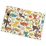 Kazogu Set di 6 tovagliette da tavola a forma di gatto con cartoni animati, impermeabili, lavabili, 6 pezzi