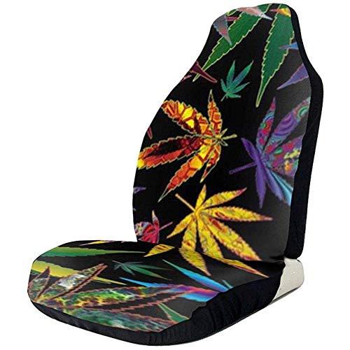Housses de protection de siège de voiture Trippy Pot Marijuana Cannabis Weed Leaves Imprints Front Car Seats Cover Cushion Only Fit
