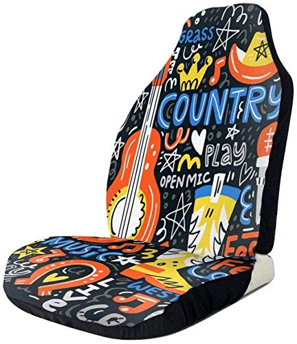 Sheep Country Music Set Car Front Seat Covers,Fits Almost Cars, Trucks, Vans, SUV