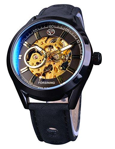 Forsining esqueleto azul cristal transparente impermeable negocio hombres deporte reloj mecánico reloj de pulsera