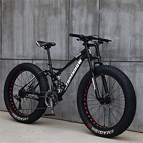 AZBYC Mountainbike, 26 Zoll (66 cm), Erwachsene, Fat-Tyre-Mountain-Trail-Bike, 24-Gang-Fahrrad, Rahmen Aus Karbonstahl, Doppelte Vollfederung, Doppelte Scheibenbremse (Black)