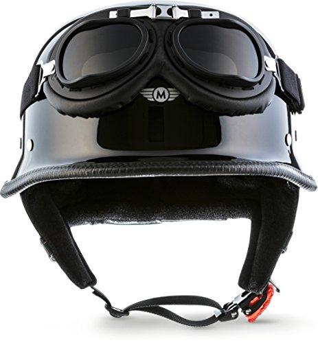 "Moto Helmets® D33-Set ""Black"" · Brain-Cap · Halbschale Jet-Helm Motorrad-Helm Roller-Helm Scooter-Helm Bobber Mofa-Helm Chopper Retro Cruiser Vintage Pilot Biker Helmet Brille Visier · XXL (63-64cm)"