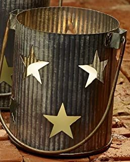 Market Street Large Metal Primitive Star Cutout Pillar and Votive Candle Holder - Country Farmhouse Decor