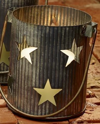 Market Street Large Metal Primitive Star Cutout Pillar and Votive Candle Holder - Country Farmhouse Decor