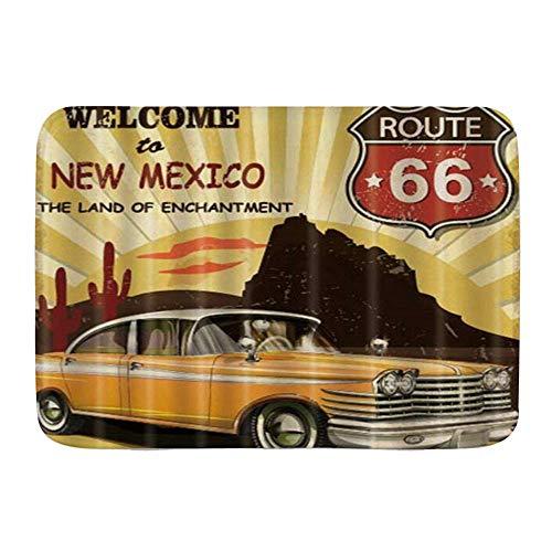 Yilan Badematte Teppich, Route 66 Auto Weclome nach New Mexico, Plüsch Badezimmer Dekor Matten mit Rutschfester Rückseite