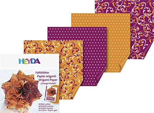 Faltblätter Fleurogami orange/violett, Papierset