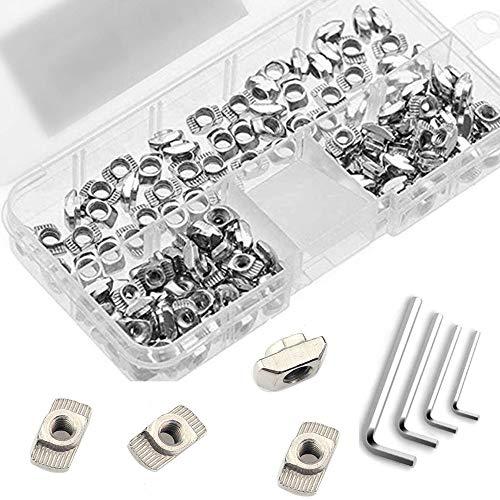 Anyasen 184 pezzi T-Nut a T-Scanalatura acciaio al carbonio T dado Accessori profilo in alluminio Acciaio nichelato Rotolo nel kit per Estrusione, con 4 Chiave inglese e scatola di immagazzinaggio