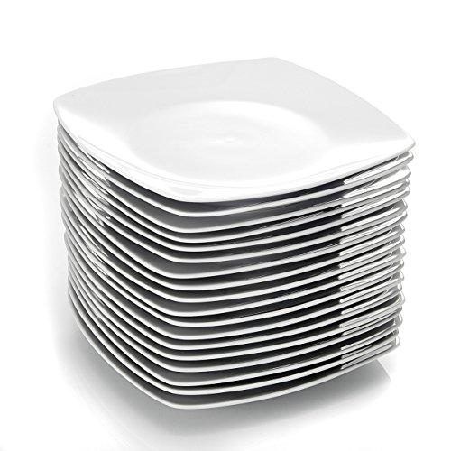 MALACASA, Série Julia, 24pcs Assiettes Plates Porcelaine, Assiettes Plats de Services pour 24 Personnes