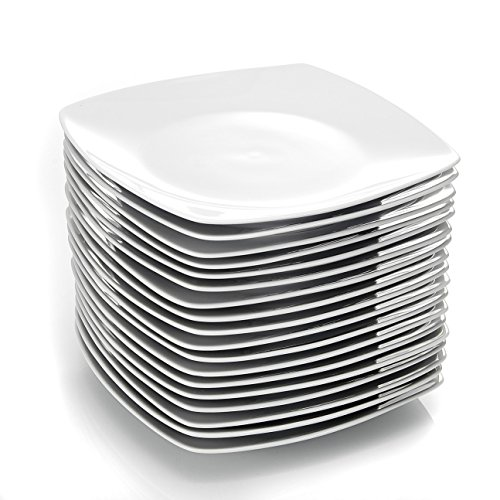 MALACASA, Julia-Serie, 18-teilige Porzellan-Teller, weißer 9,25-Zoll-Teller, Servierteller für 18 Personen