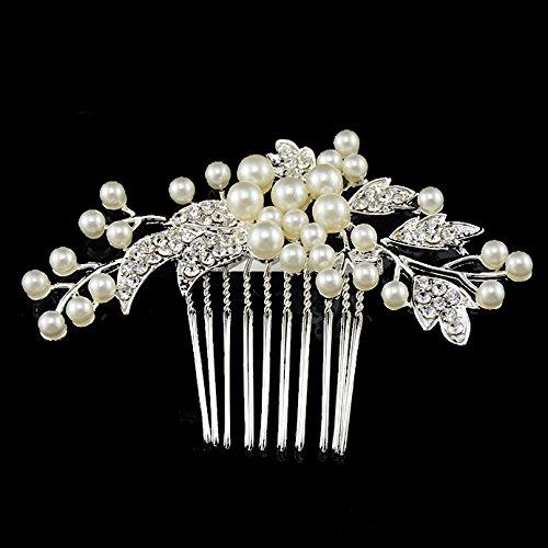 Utsunomiya® 1stück Mega Luxe mariée cheveux Peigne à douille plaqué argent avec cristaux fleurs et perles, bijoux cheveux mariage bijoux form07