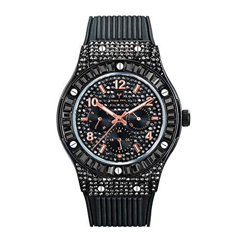 Legxaomi Orologi da uomo, di lusso orologi da uomo, nero quadrato diamante orologio da uomo data orologio sportivo, cinturino in gomma orologio da uomo di affari V315-B