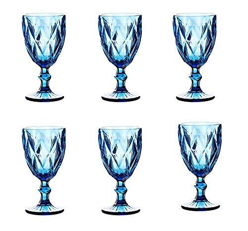 Vintage 6 Teile Set Rombus König Weinglas Glas Gläser Weingläser Wasserglas Longdrinkglas (blau)