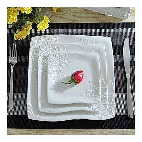LANGPIAOEZU Diseño Conveniente Placas de Carne 3pcs / Set cerámica Plana Plato Decorativo Conjunto de vajilla Porcelana porción del Plato for Ensalada El Limpio (Color : White)