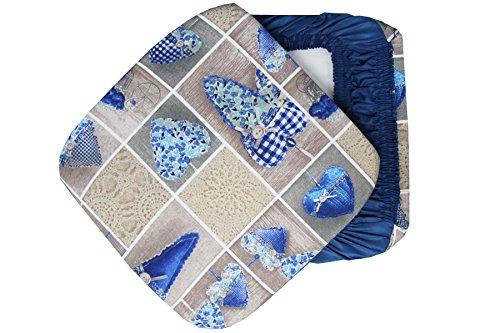 Russo Tessuti 6 Cuscini Sedie Cucina Coprisedia Cuore Allungato Elastici Blu