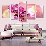 Moda mariposa orquídea flor rosa lienzo pintura sin marco 5 paneles decoración del hogar 40x60 40x80 40x100cm sin marco