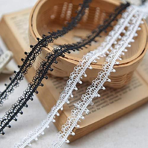 Hot koop verfijnd wateroplosbaar borduurwerk kant en pure en frisse kant ketting kant accessoires 1,3 cm wit zwart, wit