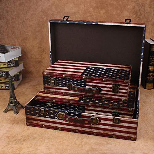 ZDAMN Maletas Vintage Caja de Almacenamiento Caja del Tesoro Decorativo de Madera 3pcs Fotografía Antigua Ventana Puntales Display Box para Dormitorio (Color : B, Size : S+M+L)