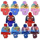 Characters Cartoons - Niña niño – Juego de invierno de 2 piezas gorro guantes de punto – Bing Frozen Ladybug LOL Surprise Spiderman Super Zings Superzings Rosso 1455 Talla única