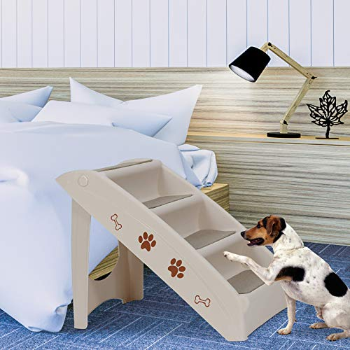 Nova Microdermabrasion Pet Dog Stairs Steps for high Bed for Small Dogs Washable Carpet Foldable...