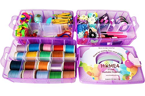 HOME4 Glitter Purple Arts & Craft Case Storage Box 30 Adjustable Compartments Dividers, Jewelry Keeper, Bead Organizer, Tools, Sewing, Thread, Hair Accessories Holder Display Container