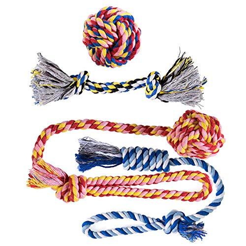 Ksnnrsng Cuerda de Juguete para Masticar para Perros Juguetes para morder para Cachorros Cuerdas de algodón Lavables Juguetes para Perros pequeños a medianos Juguetes (4 Pack)