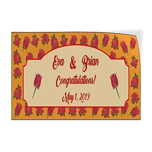 qidushop Wedding Congrats Naam Datum Oranje Rozen Aangepaste Deur Decals Vinyl Stickers Bruiloft Oranje 20 x 30 Metalen Decor Metalen Tin Tekens Outdoor Teken Verjaardag Gift Grappig Teken Muur Art Decoratieve