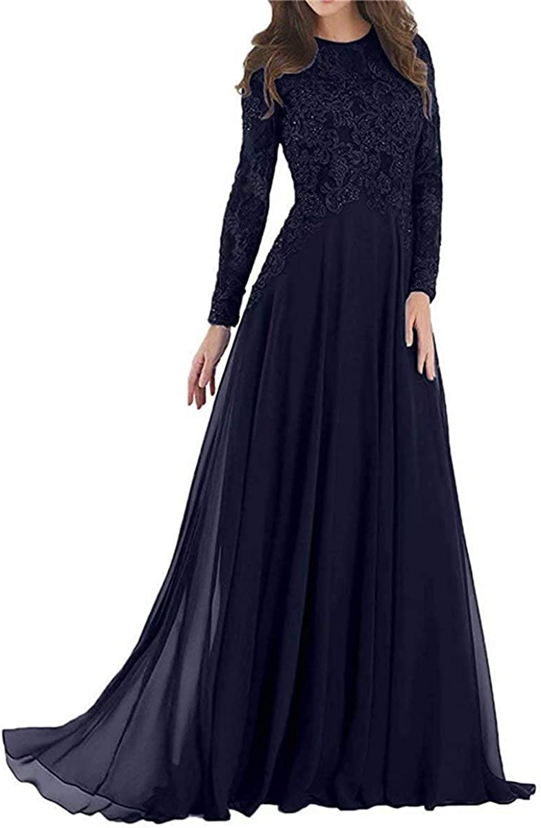 HobbyBridal Women's Lace Appliques Beading Full Sleeves Long Prom Dress