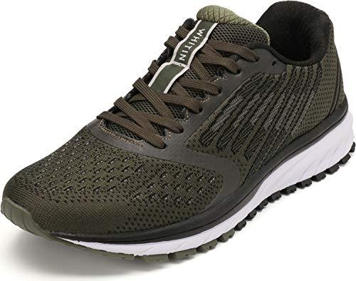WHITIN Damen Herren Hallenschuhe Laufschuhe Sneakers Walkingschuhe Frauen Joggingschuhe Turnschuhe Jungen Freizeitschuhe Fitness Schuhe Armee Grün Größe 39