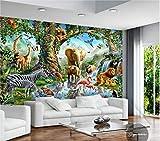 Papel Tapiz Fotográfico Personalizado Murales De Pared 3d Papel Tapiz De Dibujos Animados Gran Elefante Cebra León Río Mundo Animal Niños Pintura Decoración De La Pared Ancho 300cm * Altura210cm