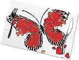 Set di 6 tovagliette per San Valentino, lavabili e lavabili, a forma di cuore rosso, a prova di olio, per la casa