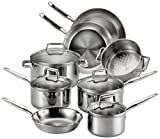 T-fal Stainless Steel Cookware, Multi-Clad, Dishwasher Safe and Oven Safe Cookware Set, Tri-Ply...