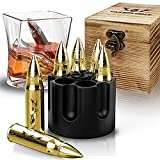 Metal Whiskey Stones - 6 Steel Whiskey Rocks   Metal Ice Cubes to Chill Bourbon, Scotch in Your Whisky Glass - Cool Gifts for Men, Father's Day, Christmas Stocking Stuffer…