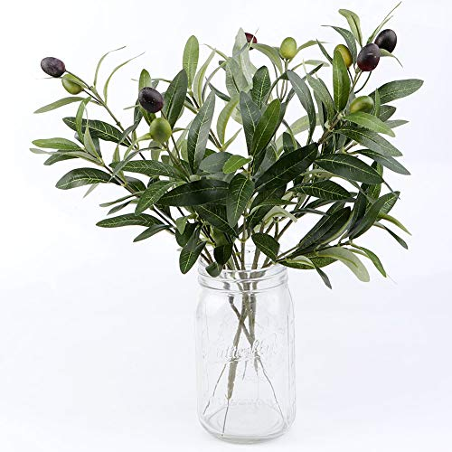 OurWarm 10pcs Olive Tree Branches Artificial Olive Plant Branches Fruits Silk Olive Leaves Decor for Home Garden Office Wedding Greenery Decorations, 12' Tall