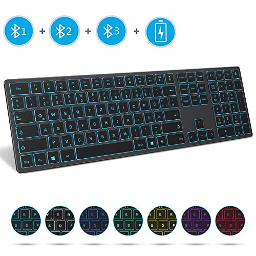 Jelly Comb Beleuchtete Tastatur mit 3 Bluetooth Kanälen, Kabellose Wiederaufladbare Ultraslim Fullsize QWERTZ Funktastatur für Windows PC/Laptop/Tablet/Surface Pro/Go, Grau