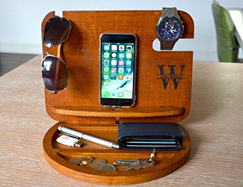 PERSONALIZED MENS GIFT Docking Station gifts for men gift for boyfriend wooden apple watch stand gift ideas for men boyfriend gifts