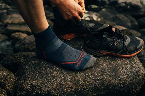 Darn Tough (Style 1991) Men's 1/4 Sock Lightweight with Cushion Hike Trek Sock - blue - Large