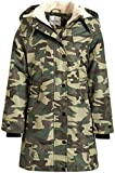 URBAN REPUBLIC Girls' Winter Coat – Leopard Print Fur Lined Heavyweight Parka Jacket with Removable Hood (Olive Camo, 10-12)