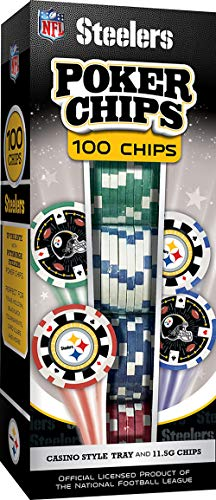 MasterPieces NFL Pittsburgh Steelers Poker Chips, 100 Piece