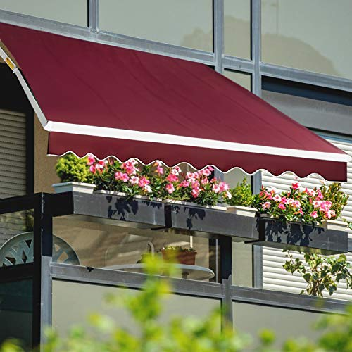 JOO LIFE Manual Patio Retractable Awning Window//Door Sun Shade Shelter Outdoor Canopy Deck Awning 10x8,Wine Red